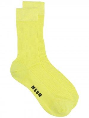 Носки с логотипом MSGM. Цвет: желтый