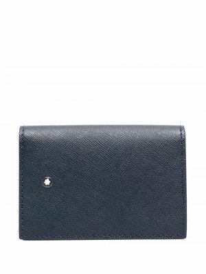 Фактурный кошелек с логотипом Montblanc. Цвет: синий