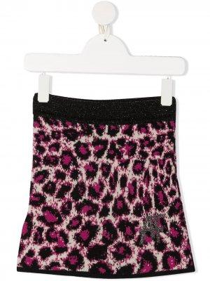 Трикотажная юбка с леопардовым принтом Alberta Ferretti Kids. Цвет: нейтральные цвета