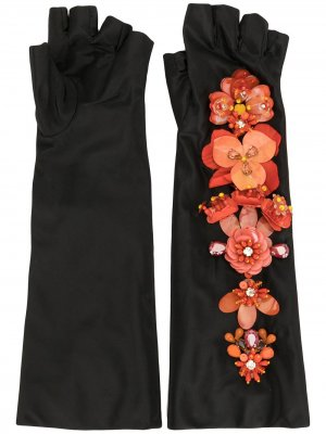 Перчатки-митенки с цветочной аппликацией Biyan. Цвет: черный