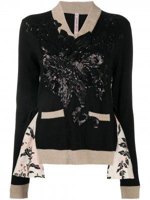 Джемпер с цветочным декором из пайеток Antonio Marras. Цвет: черный