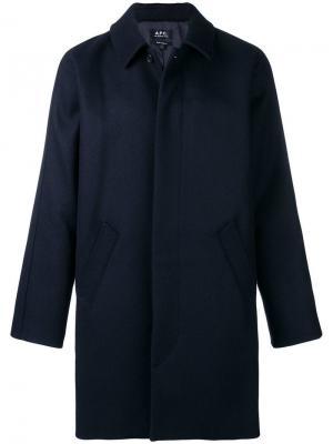 Однобортное пальто свободного кроя A.P.C.. Цвет: синий