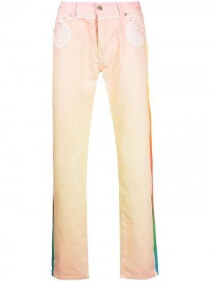 Прямые джинсы с градиентным эффектом Casablanca. Цвет: оранжевый