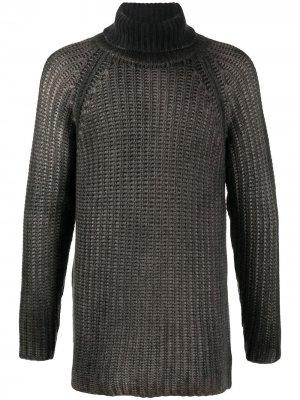 Длинный свитер с высоким воротником Avant Toi. Цвет: серый