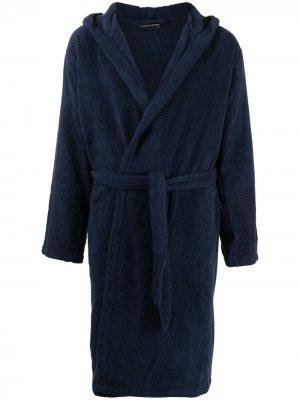 Флисовый халат с логотипом Emporio Armani. Цвет: синий