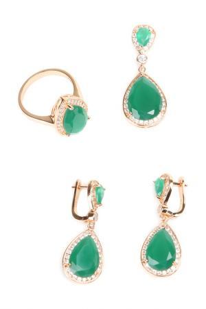 Комплект: серьги, кольцо, кулон Be You to Full. Цвет: зеленый