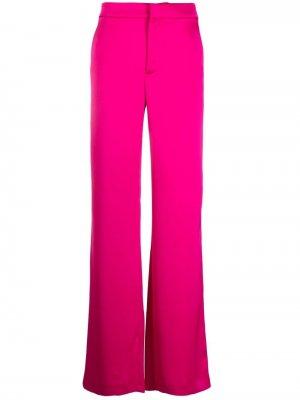 Расклешенные атласные брюки THE ANDAMANE. Цвет: розовый