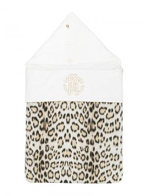 Леопардовый спальный мешок с вышивкой логотипа Roberto Cavalli Junior. Цвет: белый