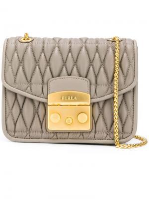 Стеганая сумка через плечо Metropolis Furla. Цвет: нейтральные цвета