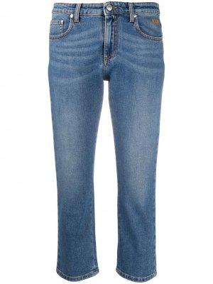 Укороченные джинсы с кристаллами MSGM. Цвет: синий