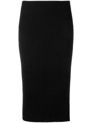Ребристая трикотажная юбка миди Brognano. Цвет: черный