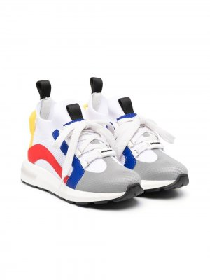 Кроссовки-носки в стиле колор-блок Dsquared2 Kids. Цвет: белый