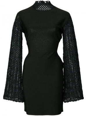 Мини-платье с ажурной вязаной отделкой Opening Ceremony. Цвет: черный