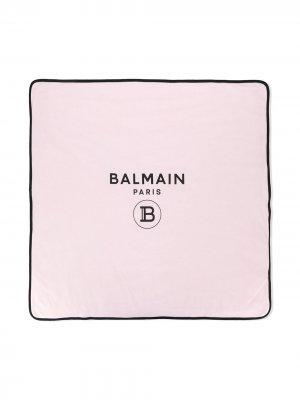 Двухцветное одеяло с логотипом Balmain Kids. Цвет: розовый