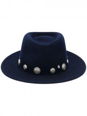 Шляпа федора с отделкой монетами Maison Michel. Цвет: синий