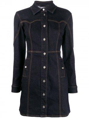 Джинсовое платье-рубашка узкого кроя GANNI. Цвет: синий
