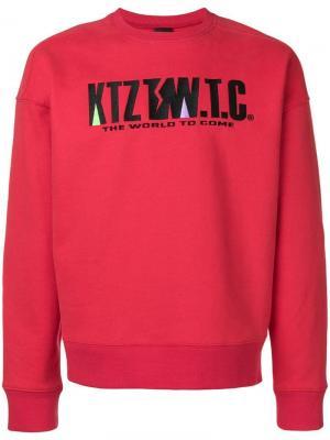 Толстовка с вышивкой логотипа KTZ. Цвет: красный