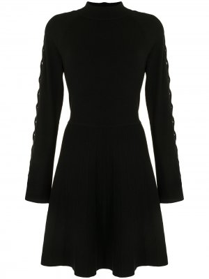 Платье со шнуровкой на рукавах Lela Rose. Цвет: черный