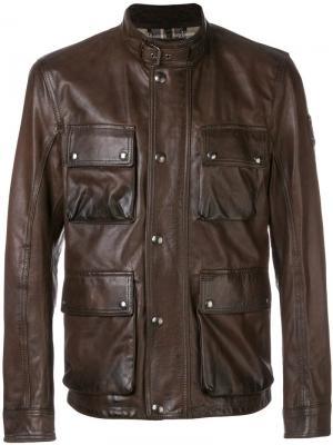 Куртка с накладными карманами клапанами Belstaff. Цвет: коричневый