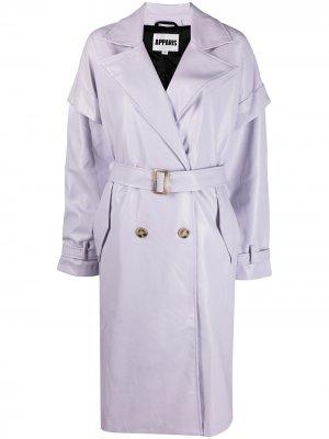 Двубортное пальто Natalia длины миди Apparis. Цвет: фиолетовый