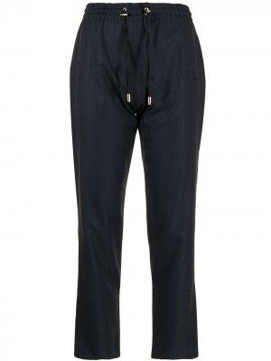 Укороченные брюки с кулиской Colombo. Цвет: синий