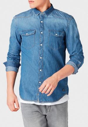 Рубашка джинсовая Tom Tailor Denim. Цвет: синий
