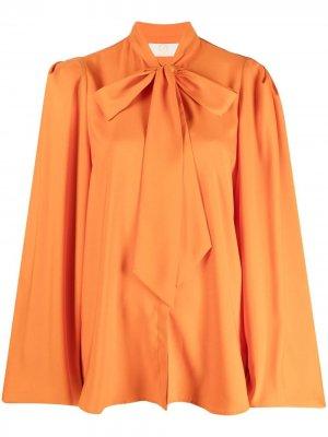 Блузка с рукавами бишоп и бантом Sara Battaglia. Цвет: оранжевый