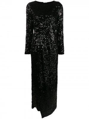 Платье с длинными рукавами и пайетками P.A.R.O.S.H.. Цвет: черный
