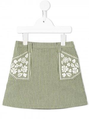 Полосатая юбка Rhea А-силуэта Velveteen. Цвет: зеленый