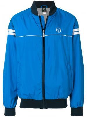 Куртка-бомбер с контрастной полосатой отделкой Sergio Tacchini. Цвет: синий