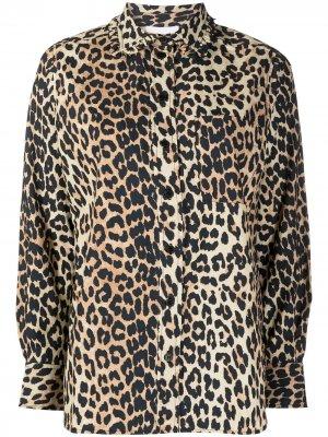 Блузка с оборками и леопардовым принтом GANNI. Цвет: коричневый