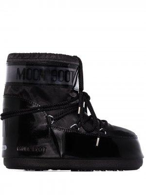 Дутые ботинки Glance на плоской подошве Moon Boot. Цвет: черный