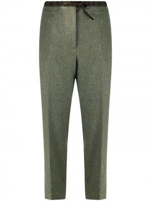 Зауженные брюки с кулиской Jil Sander. Цвет: зеленый
