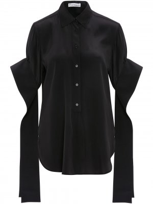 Рубашка с длинными рукавами и закругленным краем JW Anderson. Цвет: черный