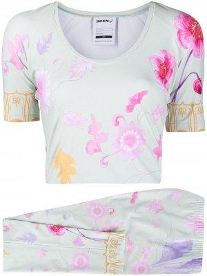 Комплект из топа и брюк с цветочным принтом Seen Users. Цвет: зеленый
