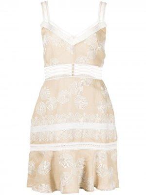 Платье мини Marilia с кружевной отделкой Alexis. Цвет: коричневый