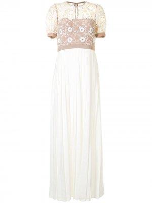 Плиссированное платье с пайетками Self-Portrait. Цвет: белый