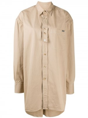 Рубашка оверсайз с длинными рукавами LANVIN. Цвет: нейтральные цвета