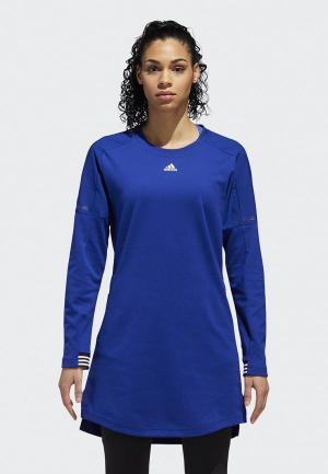Платье adidas. Цвет: синий