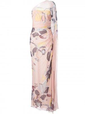 Платье на одно плечо с цветочным принтом Zuhair Murad. Цвет: розовый