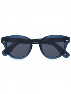 Солнцезащитные очки в круглой оправе с затемненными линзами Oliver Peoples. Цвет: синий