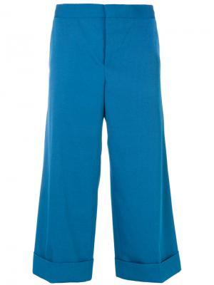 Широкие брюки-капри Techno Marni. Цвет: синий