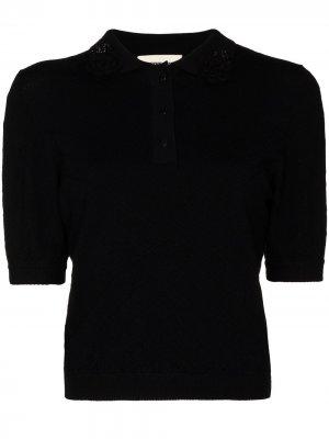 Трикотажная рубашка поло SHUSHU/TONG. Цвет: черный