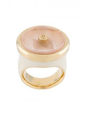Кольцо в виде цветка с кварцем LANVIN. Цвет: розовый