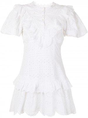 Платье мини с английской вышивкой LoveShackFancy. Цвет: белый