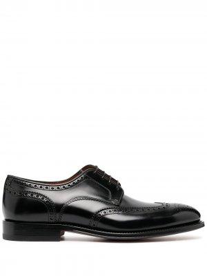 Туфли дерби с брогированием Santoni. Цвет: черный