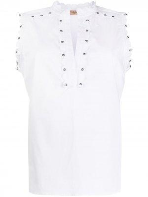 Поплиновая рубашка с вышивкой TWINSET. Цвет: белый
