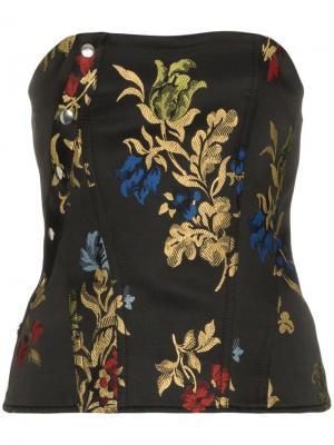 Корсет с цветочной вышивкой Marques'almeida. Цвет: черный