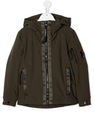 Куртка с капюшоном и линзой на рукаве C.P. Company Kids. Цвет: зеленый