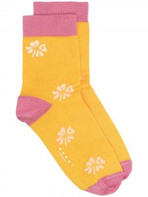 Носки с цветочным узором Marni. Цвет: желтый